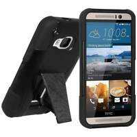 AMZER BLACK RUGGED DOUBLE LAYER HYBRID CASE COVER WITH KICKSTAND FOR HTC ONE M9