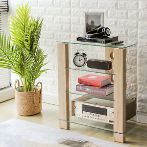 Hi-Fi Stand Rack Clear Tempered Glass 4-Tiers Audio Rack  Entertainment Unit