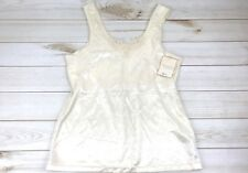 New Slip Camisole Lingerie Size L Shelf Bra Ivory Crochet Lace Wide Straps NWT