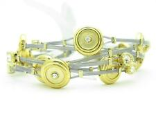 6 Gold Plated Stainless Steel Brushed Design Crystal Stackable Bangle Bracelet