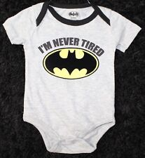 "Nwt Baby Dcs Batman Short Sleeve Bodysuit ""I'M Never Tired� W/ Bib 0-3 Months"