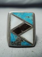 FABULOUS VINTAGE NAVAJO NATIVE AMERICAN TURQUOISE INLAY STERLING SILVER RING OLD