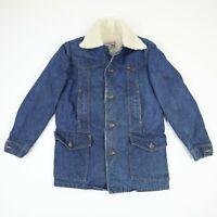 Vtg LEE Storm Rider Ranch Coat Jacket Sherpa Lined Denim USA Workwear Mens S?