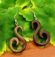 Ethnic Brown Wooden Handmade Boho S Design Wood Danglers Drop Earrings EAR738