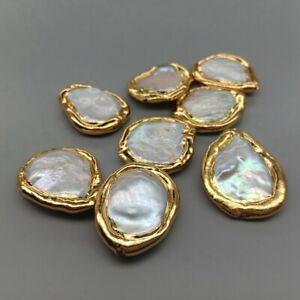 10 pcs Freshwater Cultured White Keshi Coin Pearl Beads Metal Bezel