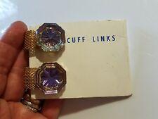 Shape Cuff links Vintage Purple Iridescent Octagon
