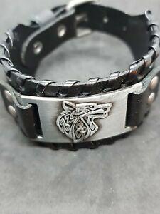 men's black lether fox silver adjustable bracelet