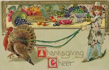 1913 Thanksgiving Cheer Turkey Leading Boy Past Laden Table Emb. Postcard