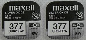 2x Maxel 377 V377 Uhren-Batterie Knopfzelle SR66 SR626 AG4 SR626SW