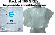 Disposable Shoulder Capes GREY Pack of 100 Polythene Plastic Hairdressing Beauty