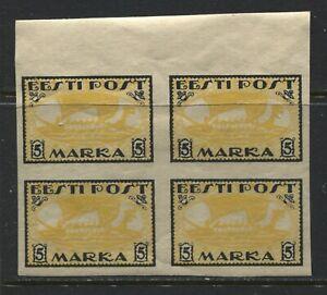 Estonia 1919 5 marka block of 4 mint o.g.