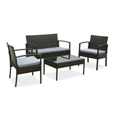 4Pc In/Outdoor Patio Lawn Sofa Set Rattan Wicker Furniture Table Cushion Garden
