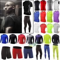 Mens Compression Shirt Armour Base Layer Tight Top Thermal Skins Shorts Pants