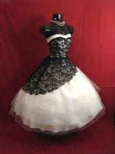 Lace 1950's Black White Short Wedding Dresses Gothic Bridal Gowns Custom Size