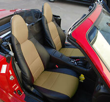 MAZDA MIATA 2001-2005 BLACK/BEIGE S.LEATHER CUSTOM MADE FIT FRONT SEAT COVER