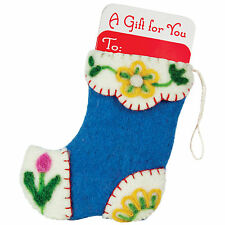 Heidi Stocking Gift Card Holder Hand Felted Wool Christmas Ornament Handmade NEW