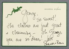 2000 | actress Sharon Stone lovely handwritten card embossed with green lizard