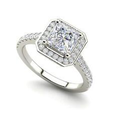 Halo Pave 0.95 Carat VVS1/D Princess Cut Diamond Engagement Ring White Gold