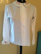 Vintage New Era by Peter Pan Womens Blouse Shirt Size 32 Cotton Blend Embroidery