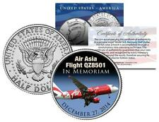 Air Asia Flight Q28501 *In Memoriam* 2014 JFK Kennedy Half Dollar Colorized Coin