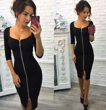 Womens Zipper Pencil Slim Bodycon V Square Neck Casual Party Cocktail Mini Dress
