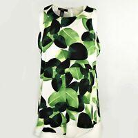 Alfani Women's Petite Asymmetrical Top Size 14P Sleeveless Leaf Print Green NWT
