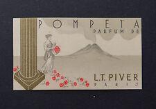 Ancienne carte parfumée POMPEIA parfum LT PIVER PARIS calendrier 1939 40