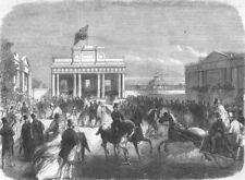 IRELAND. The Dublin Exhibition. West entrance, antique print, 1865