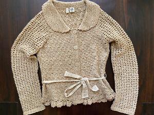 Moth x Anthropologie Cardigan Sweater Camel Size S peter pan collar wool blend