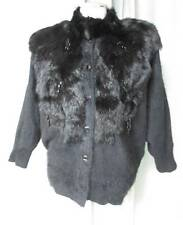 Vtg Black Bat Wing Furry Embellished Angora & Fur Dressy Cardigan Sweater Medium