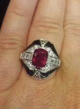 Antique Reproduction RUBY CZ BLACK ENAMEL Ring, STERLING SILVER Rhodium Plated