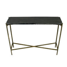 """32"""" L Stone Console Table Black Solid Stone Top Textured Iron Base Modern"""