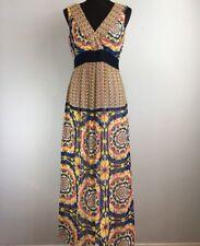 Ann Taylor Maxi Dress 4 S Multi Color Chiffon Geometric Kaleidoscope V Neck Long