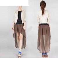 Hot Hem Chiffon Skirt High Low Asymmetrical Long Maxi Dance Elastic Waist Irreg