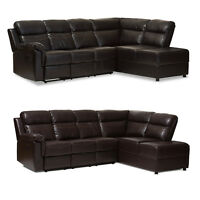 HOME THEATER SECTIONAL BLACK BROWN FAUX LEATHER RECLINER STORAGE CONSOLE CHAISE