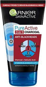 Garnier Skin Pure Active Intensive 3-in-1 Charcoal Anti-Blackhead, 150 ml
