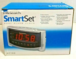 SmartSet Dual Alarm Clock by Emerson Research AC100 Automatic Setting Clock NEW