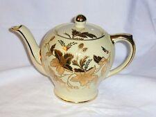 """Sadler Tea Pot - Ivory With Gold  Floral Design - 7"""" H - Vintage England"""