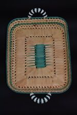used Vintage Straw Wicker Basket with ceramics white and green Handles