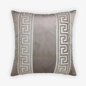 Greek Border Decorative Cushion Cover; Super Soft Velvet w/ Greek Border Trim