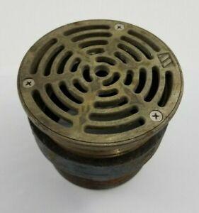 "Watts 5"" round nickel bronze floor drain w cast iron 5"" threaded pipe adaptor. F"