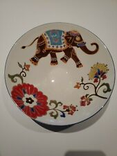 Dutch Wax by Coastline Imports Handpainted Ceramic Bowl Elephant And Floral
