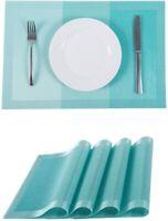 """Placemats PVC Heat-resistant Washable Table Mats Woven  11.8"""" x17.7"""" 4pcs Blue"""