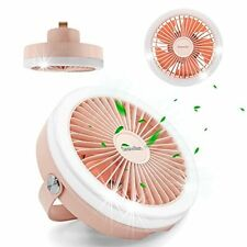 New listing Sesiwillen Camping Fan with LED Light,Tent Fan with Hanging Belt,USBRechargeable