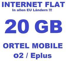 SIM-Karte Prepaid + 20GB Flat in DE / EU !!! Ortel Mobile