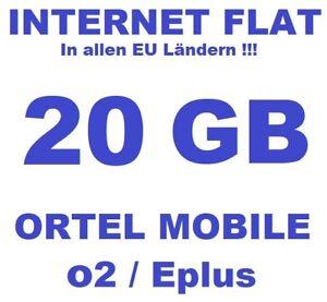 SIM-Karte Prepaid + 20GB Flat in DE / EU !!! Ortel Mobile Internet Flat XL