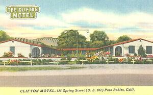 VIntage Postcard-Clifton Motel, U.S. 101, Paso Robles, CA