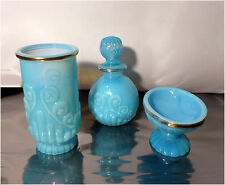 Vintage Avon Blue Glass, Gold Trim, 3 Piece Vanity Set