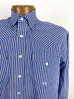 Miller Ranch Striped Western Shirt Mens Small Blue White Long Sleeve Button Down