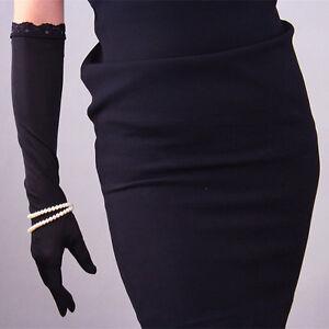 💯% Silk Elbow Long Gloves Stretchy Satin Black UV Sun Protect TECH Touchscreen